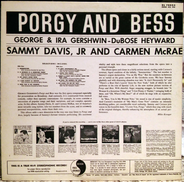 Film Music Site Sammy Davis Jr Carmen Mcrae Porgy