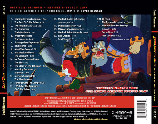 Film Music Site Ducktales The Movie Treasure Of The