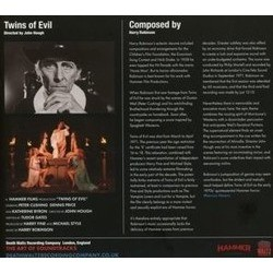 Twins of Evil Soundtrack (Harry Robertson) - CD Back cover