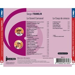 Le Grand Carnaval / Le Coup de Sirocco Soundtrack (Serge Franklin) - CD Back cover