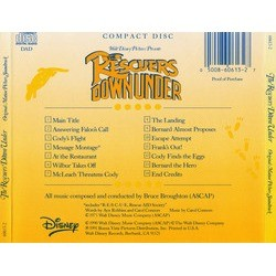 The Rescuers Down Under Soundtrack (Bruce Broughton) - CD Back cover