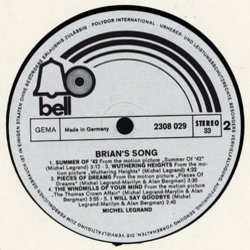 Brian's Song Soundtrack (Michel Legrand) - CD-Inlay