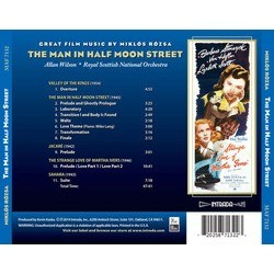 The Man in Half Moon Street Soundtrack (Mikl�s R�zsa) - CD Back cover
