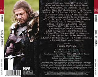 Game Of Thrones Soundtrack (Ramin Djawadi) - CD Achterzijde