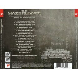 The Maze Runner Soundtrack (John Paesano) - CD Back cover