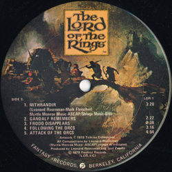 The Lord of the Rings Soundtrack (Leonard Rosenman) - CD-Inlay