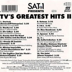 TV's Greatest Hits II Colonna sonora (Various ) - Copertina posteriore CD