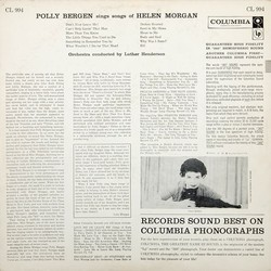 Bergen Sings Morgan Soundtrack (Polly Bergen) - CD-Rückdeckel