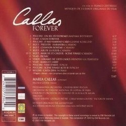 Callas Forever Soundtrack (Various Artists, Alessio Vlad) - CD Trasero