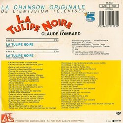 La Tulipe Noire Soundtrack (Various Artists, Charles Level, Claude Lombard) - CD Back cover