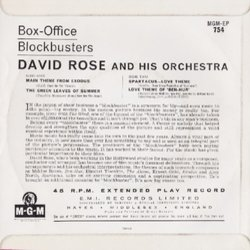 Box-Office Blockbusters Soundtrack (Various Artists, David Rose) - CD Back cover