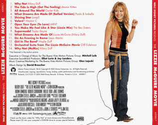 The Lizzie McGuire Movie Soundtrack (Various Artists, Cliff Eidelman) - CD Back cover