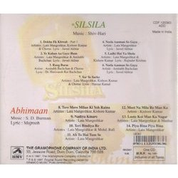 Silsila / Abhimaan Soundtrack (Various Artists, S.D. Burman, Shiv Hari) - CD-Rückdeckel