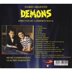 Demons Soundtrack (Claudio Simonetti) - CD Achterzijde