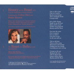 Beauty and the Beast Soundtrack (Peabo Bryson, Céline Dion, Alan Menken) - CD-Rückdeckel