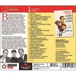 Sabrina Soundtrack (Frederick Hollander, Dimitri Tiomkin) - CD Back cover