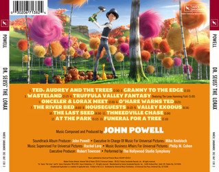Dr. Seuss' The Lorax Soundtrack (John Powell) - CD Trasero