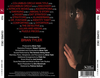 Columbus Circle Soundtrack (Brian Tyler) - CD Back cover