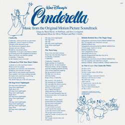 Cinderella 声带 (Stanley Andrews, Various Artists, Paul J. Smith, Oliver Wallace) - CD-镶嵌