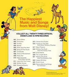 Pinocchio: When You Wish Upon A Star / I've Got No Strings Soundtrack (Various Artists, Cliff Edwards, Leigh Harline, Dickie Jones, Paul J. Smith) - CD Back cover