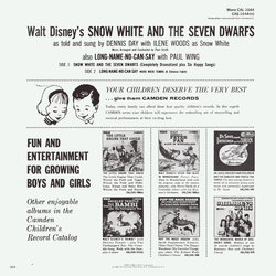 Snow White and the Seven Dwarfs Bande Originale (Frank Churchill, Dennis Day, Leigh Harline, Paul J. Smith, Paul Wing, Ilene Woods) - CD Arrière