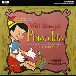 Pinocchio / Peter and The Wolf Soundtrack (Various Artists, Cliff Edwards, Leigh Harline, Sterling Holloway, Paul J. Smith) - CD cover