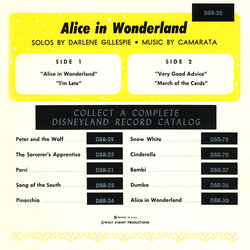 Alice in Wonderland サウンドトラック (Various Artists,  Camarata, Darlene Gillespie, Oliver Wallace) - CD裏表紙