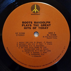 Boots Randolph Plays The Great Hits Of Today Soundtrack (Various Artists, Boots Randolph) - cd-carátula