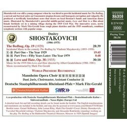 The  Bedbug / Love and Hate Soundtrack (Dmitry Shostakovich) - CD Back cover
