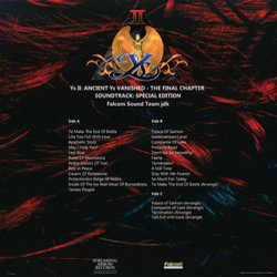 Ys II: Ancient Ys Vanished: The Final Chapter Trilha sonora (Falcom Sound Team jdk) - CD capa traseira