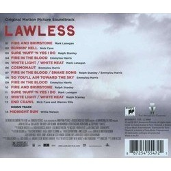 Lawless Soundtrack (Various Artists, Nick Cave, Warren Ellis) - CD Back cover