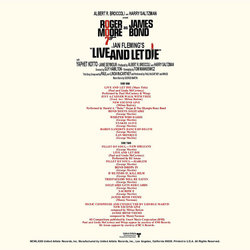 Live and Let Die Soundtrack (George Martin) - CD Back cover