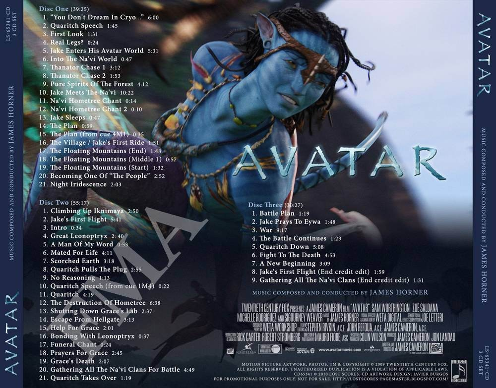 Avatar (2009) Music Soundtrack & Complete List of Songs ...