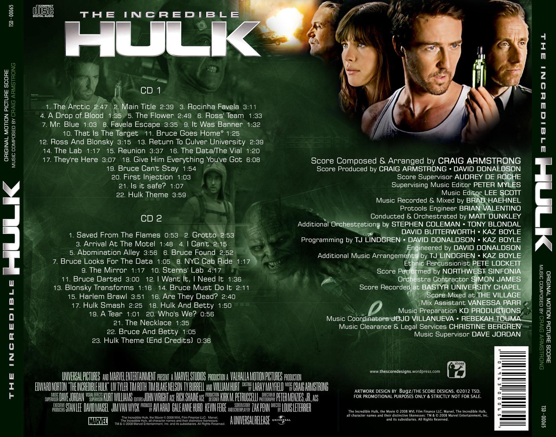 Film Music Site The Incredible Hulk Soundtrack Craig