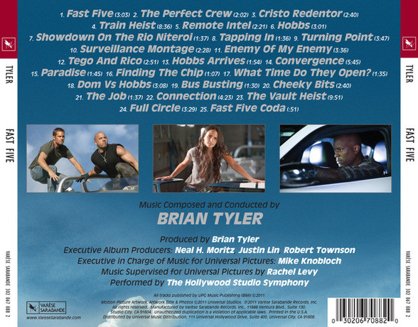 Fast Five Soundtrack  Brian Tyler  - CD AchterzijdeFast Five Itunes Cover